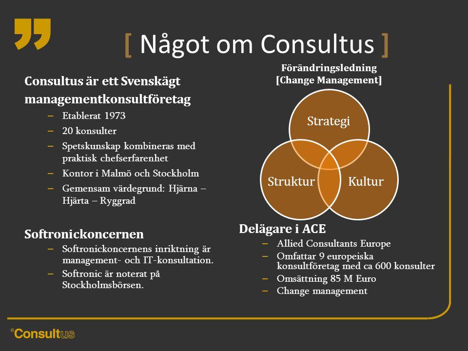 [ Något om Consultus ] Förändringsledning. [Change Management] Consultus är ett Svenskägt managementkonsultföretag.